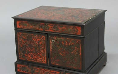 FRENCH BOULLE WORK AND EBONISED DECANTER BOX, 19th century, ...