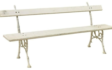 FRENCH PAINTED CAST IRON & WOOD GARDEN BENCH