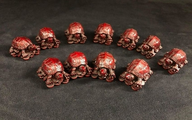 Feng Shui Lucky Turtles Red Carving Lot Of 11