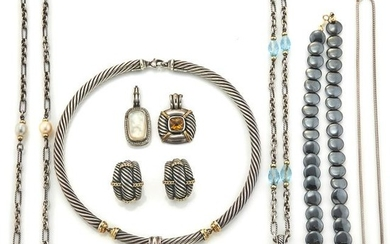Four Sterling Silver and Gold Necklaces, Pendant and Pair of Earrings, David Yurman, and Hematite Bead Necklace