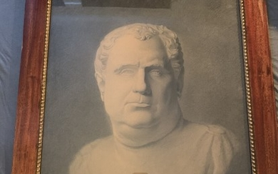 Frederik Norden Guldbrandsen: Academy study depicting a bust of Vitellius. Unsigned. Charcoal on paper. Frame size 66×56 cm.