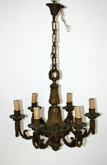 French 6 arm Louis XVI bronze chandelier