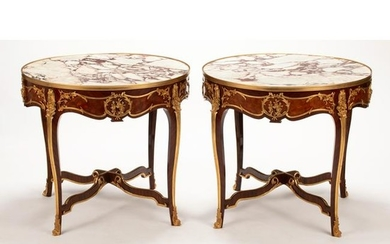 French Louis XVI Style Dore Bronze Mounted Marble Top