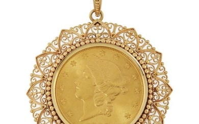 Gold and US $20 Gold Coin Pendant