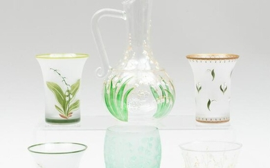 Group of Christian Dior Glassware Decorated with Lily