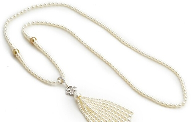 NOT SOLD. Hartmann's: A pearl necklace with a pearl and diamond pendant set with freshwater...