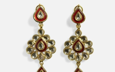 Indian diamond and enamel ear pendants
