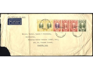 KELANTAN 1940 airmail cover to Glasgow, franked 1937 issue S...