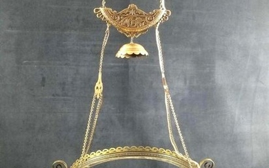 Late 1800s Solid Brass Gothic Art Deco Ornate Ceiling
