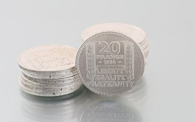 Lot of sixteen silver coins 20 Francs 1934,...