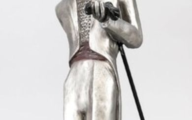 M. Katok, sculptor 2nd half of the 20th century, ''Dandy'', gallant gentleman with cylinder and loose inserted walking stick, silver and black cast-iron, signed in the plinth. u. bez. ''Austin Prod. Inc. 1984'', min. calc., Ges.-H. 61 cm