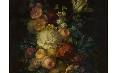MANNER OF VERBRUGGEN (18TH CENTURY DUTCH SCHOOL) STILL LIFE OF FLOWERS IN A VASE ON STONE LEDGE
