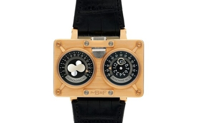 MB&F   REF 20.DRRT HOROLOGICAL MACHINE NO.2, A LARGE LIMITED EDITION TITANIUM AND PINK GOLD RECTANGULAR DOUBLE DIALED AUTOMATIC WRISTWATCH WITH JUMPING HOURS, RETROGRADE MINUTES AND DATE, AND MOON PHASES CIRCA 2010