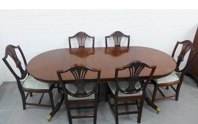 Mahogany twin pedestal dining table and set of six dining ch...