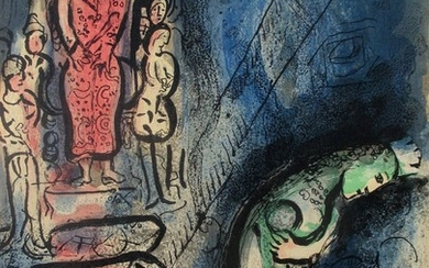 "Marc Chagall: ""Ahasuerus sends Vashti away"". Unsigned. Lithograph in colours. Verso a b/w lithograph. Sheet size 35.4 × 26.3 cm. Unframed."