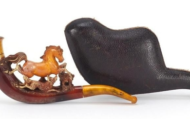 Meerschaum pipe carved with a horse and fox, housed in