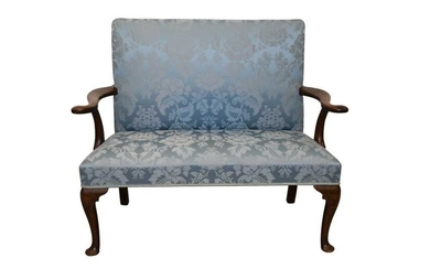 Mid 18th century walnut sofa with scrolled arms and blue silk damask upholstery