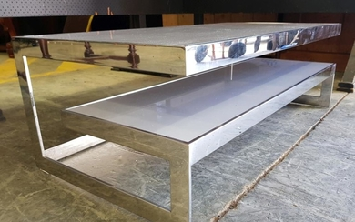 Modern Chrome Based Coffee Table with Step Side and Opaque Glass Tops (H: 41, L: 120, W: 60cm)