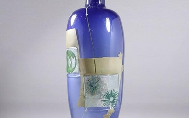 Modernism Cobalt Blue and Fused Art Glass Vase Signed