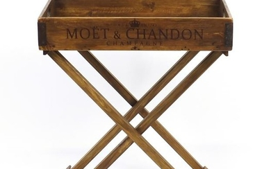 Moët & Chandon design butlers tray on stand, 78cm H x