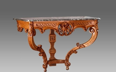 Moulded and carved walnut console with crossbars, acanthus and interlacing decoration. Openwork belt joined by braced console uprights.