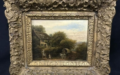 Oil Painting on Board Colonial Home