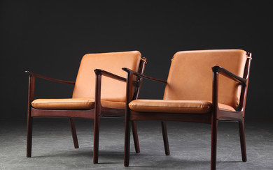 Ole Wanscher. A pair of lounge chairs model PJ112, mahogany and cognac-coloured aniline leather (2)