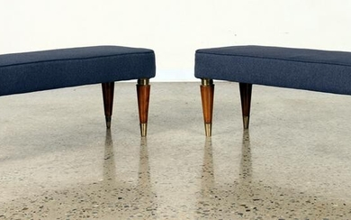 PAIR ITALIAN UPHOLSTERED BENCHES C.1950