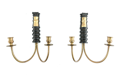 PAIR OF WOOD & BRASS CANDLE SCONCES