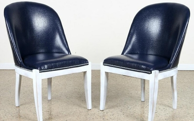 PAIR SLIPPER CHAIRS BLUE DYED FAUX ALLIGATOR SKIN