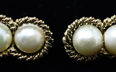 Pair 14k Yellow Gold & Cultured 6mm Pearl Earrings