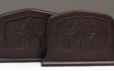 Pair Arts & Crafts Carved Walnut Pine Tree Bookends