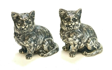 Pair German Solid Silver Cat Salt & Pepper Shakers