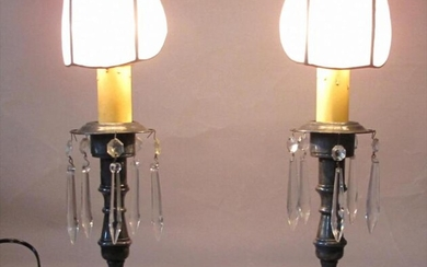 Pair candle lamps with clip seashell shades. Circa 1900 GC3A