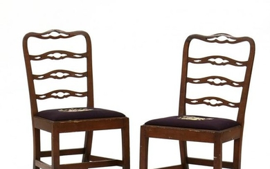 Pair of Antique American Ribbon Back Side Chairs