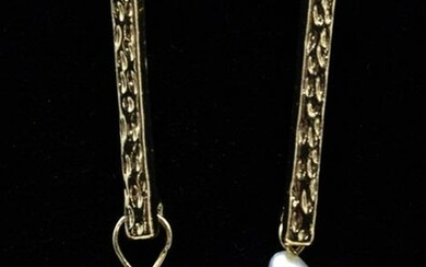 Pair of Baroque Coin Form Pearl & Gold Earrings
