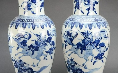 Pair of Large Blue and White Porcelain Vases