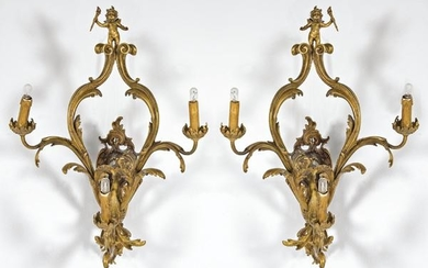 Pair of Louis XV style wall light in gilt bronze, S.