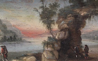 Pair of late 18th/early 19th century Italian school oils on panel - Lake views with figures gathered on the shore, in gilt frames, 10cm x 15.5cm