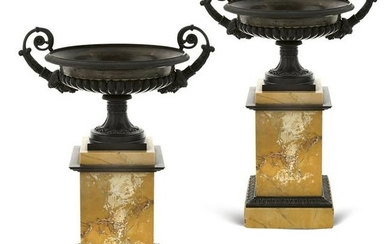 Pair of marble and bronze stands France, 20th century