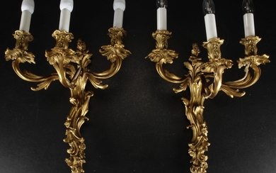 A pair of large French gilded bronze lamps in rococo style, 19th century (2)