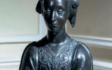 Patinated bronze bust of the Belle Florentine after the bust of St. Constance kept in the Louvre museum (inv. R.R. 789)
