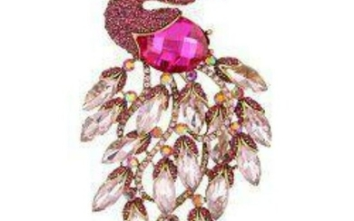 Pink Crystal Peacock Costume Brooch Pin