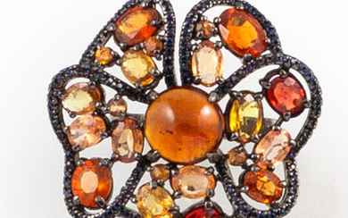 RING in 925 silver decorated with sapphires (orange, yellow and...