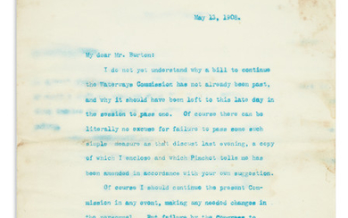 ROOSEVELT, THEODORE. Typed Letter Signed, as President