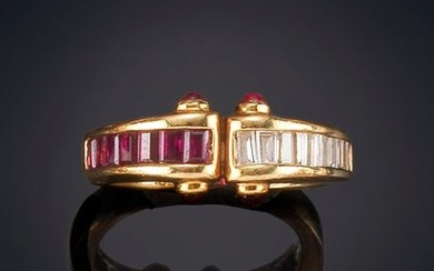 RUBY AND DIAMOND RING, BAGUETTE-CUT, SET ON A...