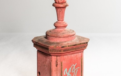 Red-painted New York City Fire Call Box