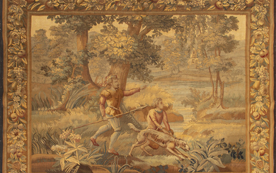 """""""Renaissance hunting scene"""", French tapestry in wool, second half of the 19th Century."""