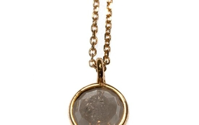 Rose-cut diamond and 18k gold pendant with chain