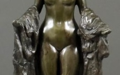Rubin - Green patinated bronze figure of a standing...
